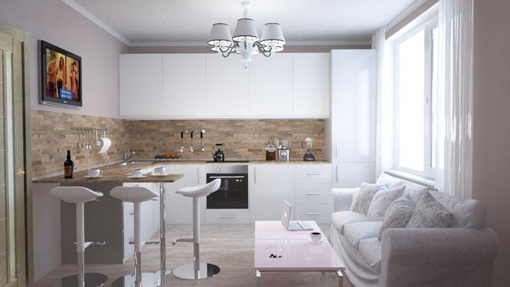 Современная кухня с барной стойкой. Белые матовые фасады, высокие барные стулья. Дизайн проект в ЖК Одинцово 1 3к квартира, ремонт и планировка.