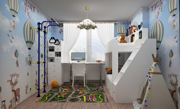 комната с яркими фотообоями и шведской стенкой для игр