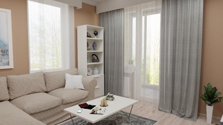 Гостиная комната, светло коричневые тона в сочетании с серым цветом.