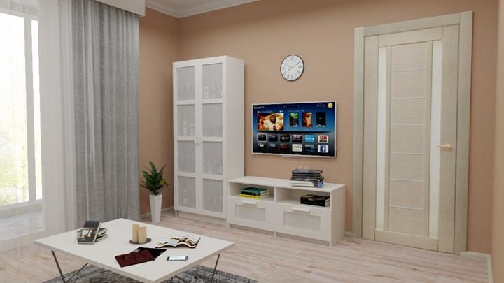 Вид от дивана. Дизайн проект в ЖК Одинцово 1 3к квартира, ремонт и планировка.