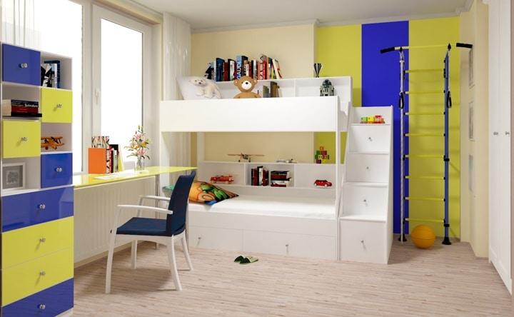 Яркая детская комната для двух детей. Кровать двухярусная белая. Далее представлена комната в других цветах. Вы сами выбираете, то что вам нравится.
