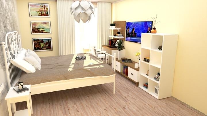 Современная спальня, стильный интерьер.
