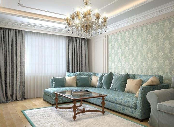 Сочетание оббивки дивана и обоев.