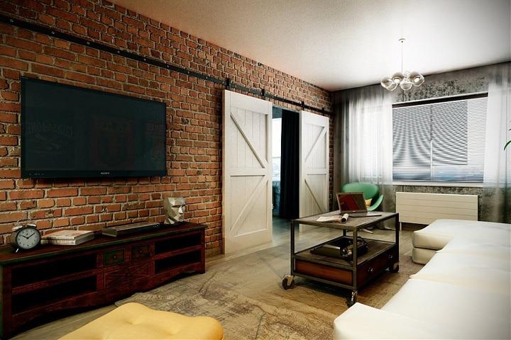 Навесные, раздвижные амбарные двери. Идея хорошая, но звукоизоляции не добавляет смежным комнатам.