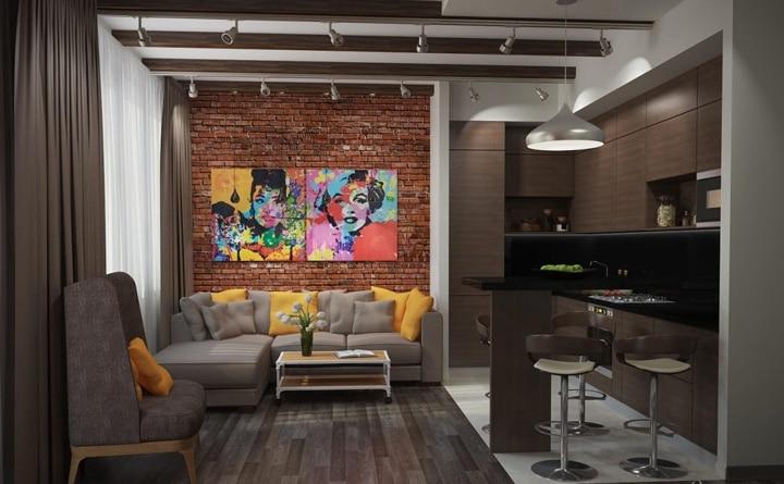 Кухня гостиная коричневая, белые потолки с деревянными перекладинами. Картины на стене.