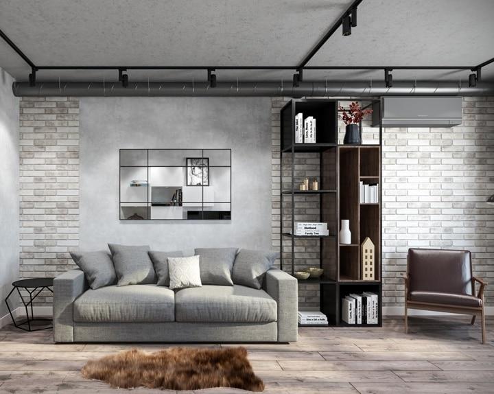 Светлая кирпичная стена или клинкерный камень, часть поверхностей покрашены и зашпаклеваны с имитацией бетонной поверхности. Вент канал 150мм в доступном состоянии для обслуживания. Трэковое освещение выбирается в тон основному интерьеру. 777+ фото и идеи дизайна современных гостиных в стилях: лофт, минимализ, нео классика, арт деко, прованс.