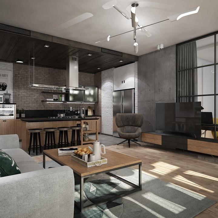 Современная кухня гостиная, натяжной белый потолок, серый ковер, множество деревянных монотонных поверхностей.