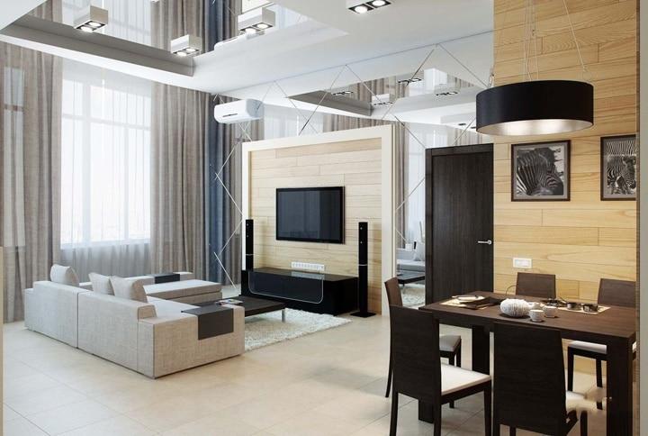 Белый и черный цвет в квартире, светлое дерево на стенах и белый матовый пол.