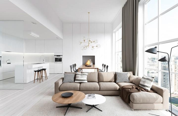 Белая кухня гостиная, серый диван, белый ковер....