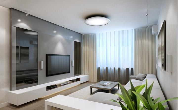 Подвесная мебель, светодиодная подсветка, декоративные элементы по бокам.