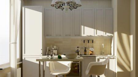 солнечный свет поступает через большое окно в светлой кухне