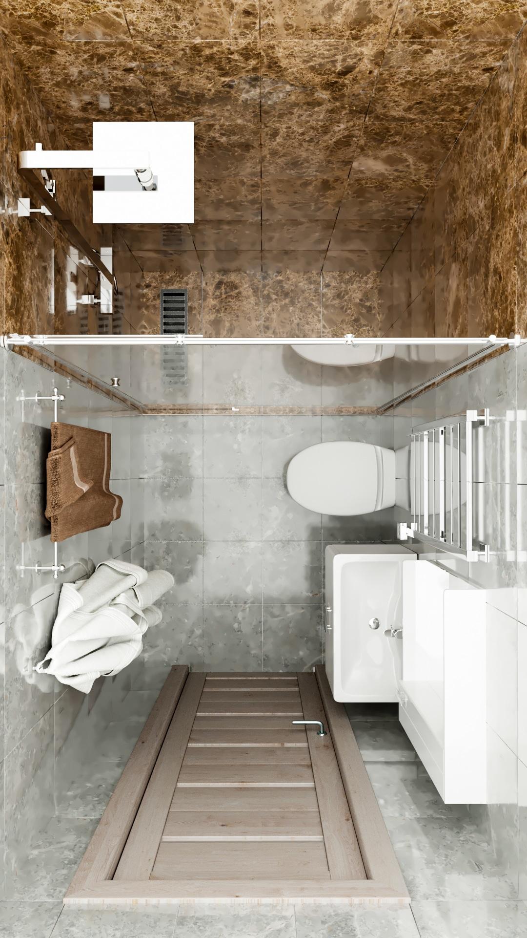 Вид сверху на туалет и ванную комнату маленькой квартиры студии 16 кв.м