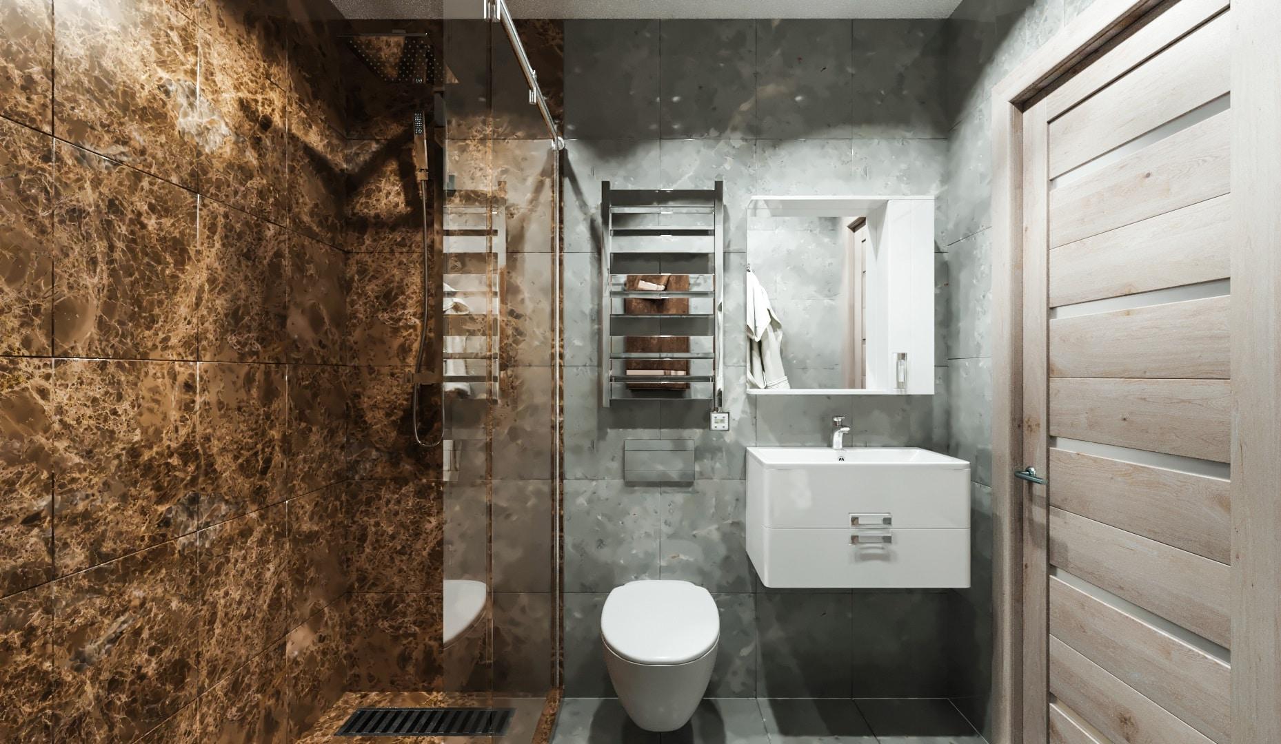 Альтернативная планировка маленькой ванны с душевой.