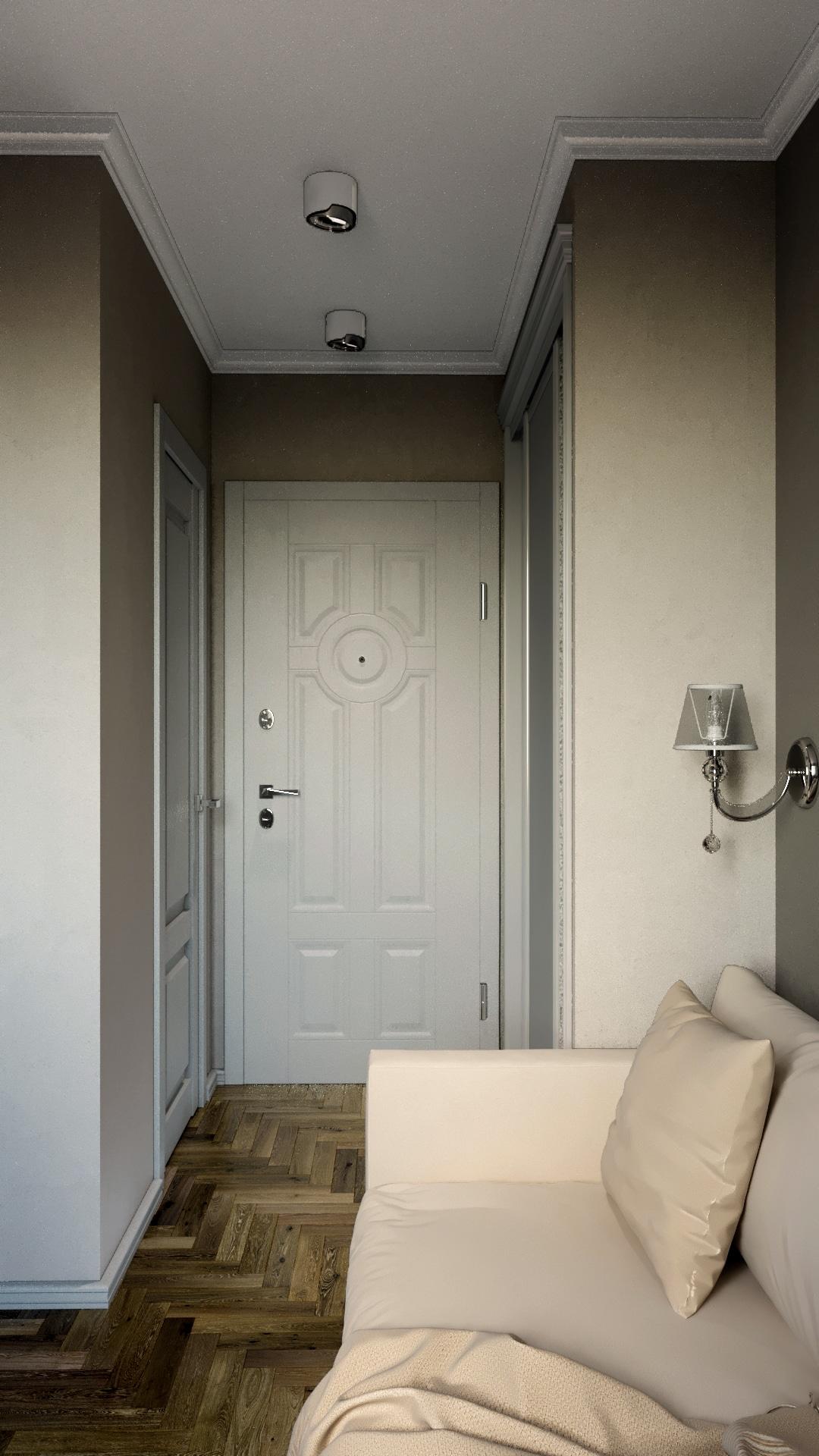 Прихожая, белые двери, темные стены.