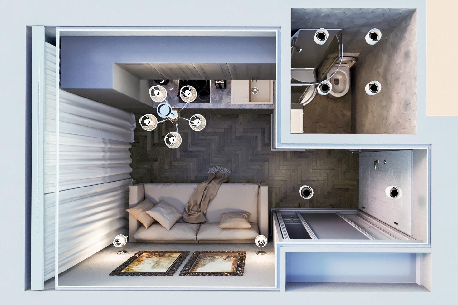 Дизайн Студии 11 кв м, вид сверху