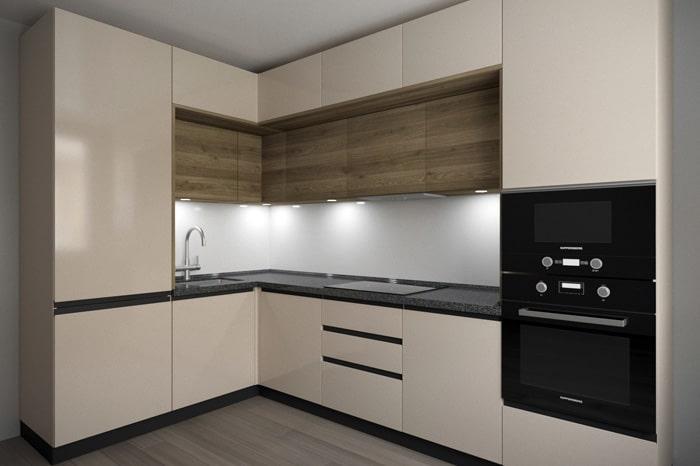 Кремовые цвета в сочетании направленного дерева и светлый фартук. Темную столешницу мы не рекомендуем по причине не практичности. На темных поверхностях появляется грязь и остатки от капель. Выбирайте светлые тона. Дизайн современных кухонь в 2021 году, фото и идеи.