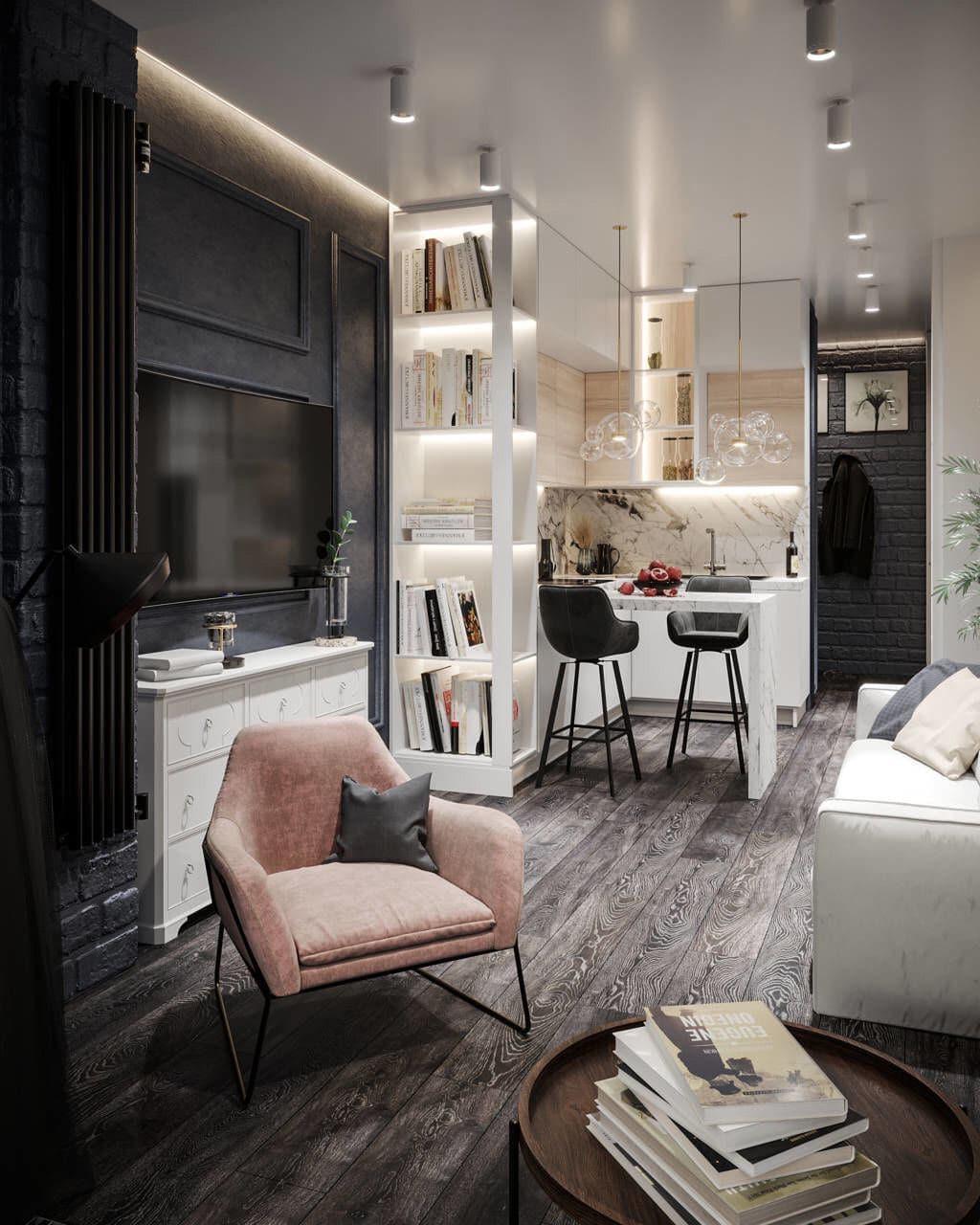 Дизайн проект студии 25 кв м в современном стиле