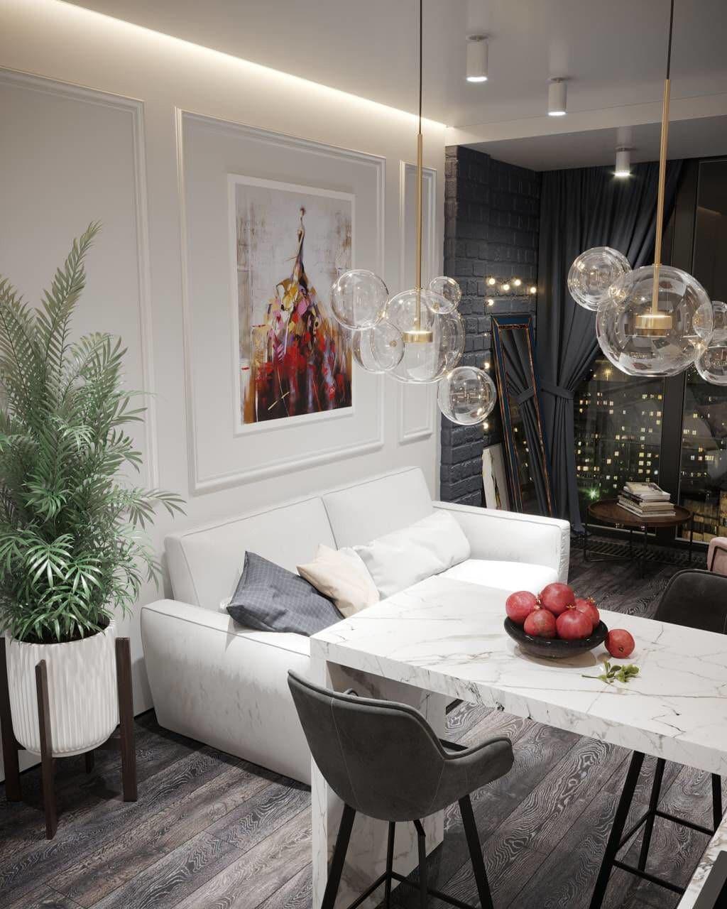 Современный интерьер в классическом стиле с декоративными рейками.